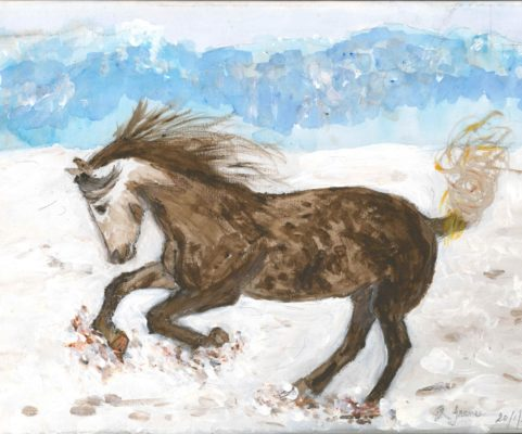 Painting of a galloping horse
