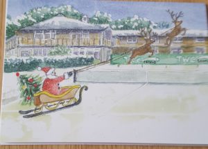 Front of card with a winter scene and sleigh