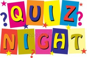 """Quiz Night"" in colourful letters with stars and question marks"