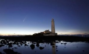 The comet and the lighthouse in Whitley Bay